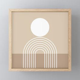 Geometric Lines in Beige and Brown (Sun and Rainbow abstraction) Framed Mini Art Print