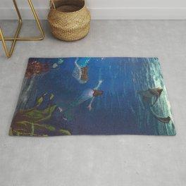 Carefree Mermaids Swimming Under the Sea Rug