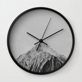Mid Century Modern Round Circle Photo Grey Minimalist Monochrome Snow Mountain Peak Wall Clock