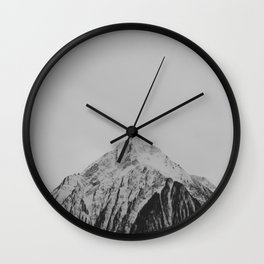 Mid Century Modern Round Circle Photo Grey Minimalist Monochrome Snow Mountain Peak Wall Clock