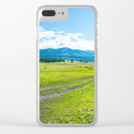 Alpine steppe in the background of snowy mountains. Samakh steppe, Altai Mountains, Russia. Clear iPhone Case