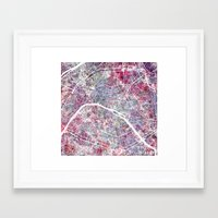 paris map Framed Art Prints featuring Paris Map by MapMapMaps.Watercolors