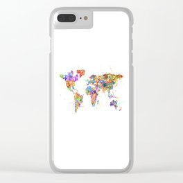 Paint Splashes Typography Text World Map Clear iPhone Case