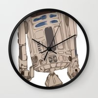 r2d2 Wall Clocks featuring R2D2 by colleencunha