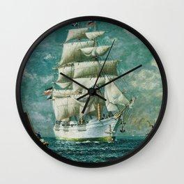Vintage Large White Sailboat Painting (1895) Wall Clock