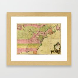 Map of North America by Kitchin, Mitchell and Millar (1755) Framed Art Print
