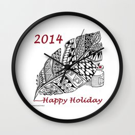 Holiday Greeting Pen and Ink Zentangle Wall Clock
