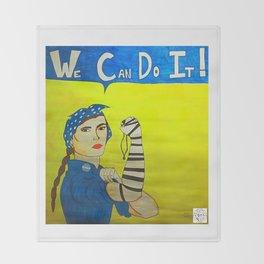 Jewish Rosie the Riveter Throw Blanket