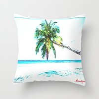 cuba Throw Pillows featuring Cuba , Playa  ( Cuba , beach ) by arnedayan