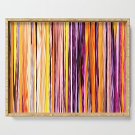 orange yellow purple abstract striped pattern Serving Tray