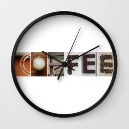 COFFEE Strong photo letter art typography Wall Clock