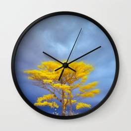 One Yellow Tree Wall Clock