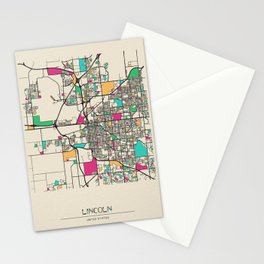 Colorful City Maps: Lincoln, Nebraska Stationery Cards