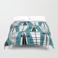 mid century Duvet Covers featuring Mid-Century Teal Abstract by Kippygirl