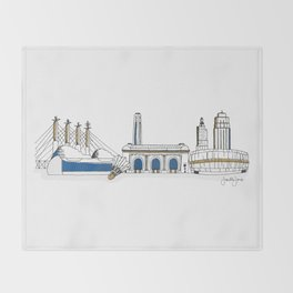 Kansas City Skyline Illustration in KC Royals Colors Throw Blanket