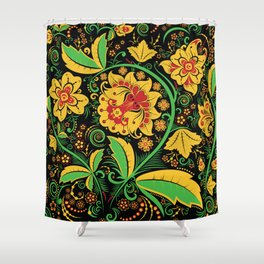 Russian traditional khokhloma Shower Curtain