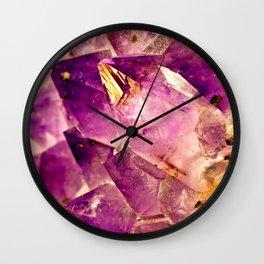 Golden Gleaming Amethyst Crystal Wall Clock