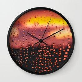 Rainy, Cozy Sunset Wall Clock