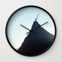 christ Wall Clocks featuring Christ Redeemer by Hugo Lopez