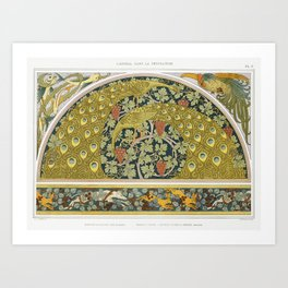 Fish and algae, rooster, corner piece; peacocks and vines; hares, dogs and brambles, border Art Print