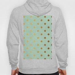 Gold polka dots on mint background - Luxury greenery pantone pattern Hoody