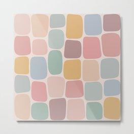 Minimal Blocks - Pastel Rainbow Metal Print