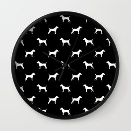 Jack Russell Terrier black and white minimal dog pattern dog silhouette pattern Wall Clock