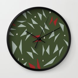 Geometric forest green red hand painted triangles Wall Clock