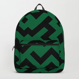 Black and Cadmium Green Diagonal Labyrinth Backpack