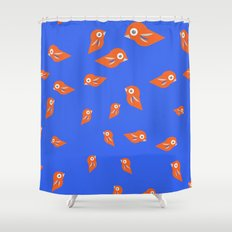 Pretty Orange Birds Shower Curtain