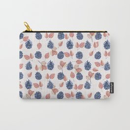 Botanical modern coral blue leaves pinecone floral pattern Carry-All Pouch