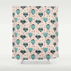 Cute grizzly bears in super hero masks illustration pattern Shower Curtain
