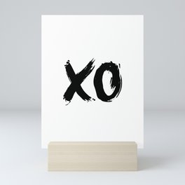 XOXO Hugs and Kisses black and white gift for her girlfriend bedroom art and home room wall decor Mini Art Print