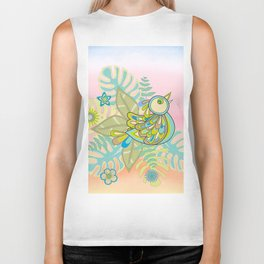 Free tropical bird Biker Tank