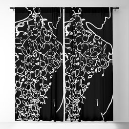 Ornaments on Woman's Back #2 Black and White #decor #society6 #buyart Blackout Curtain