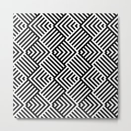 Beautiful pattern with striped lines. Black and white op art. Metal Print