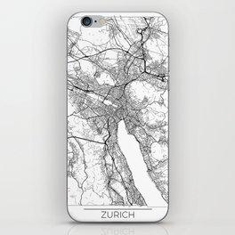 Zurich Map White iPhone Skin