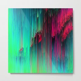 Just Chillin' - Abstract Neon Glitch Pixel Art Metal Print