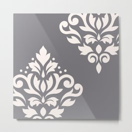 Scroll Damask Art I Cream on Grey Metal Print