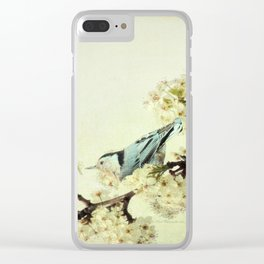 Nuthatch Bird Spring Flower Farmhouse Art Country Home Decor  A131 Clear iPhone Case