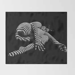 7841-KMA BW Striped Fine Art Nude Woman Emerging From Fetal Position Throw Blanket