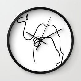 Camel Print Line Art Drawing inspired by Picasso Wall Clock