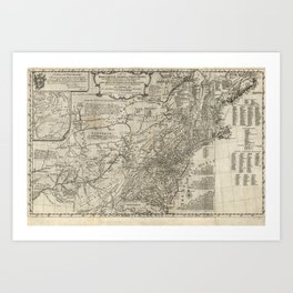 Map of the middle British colonies in North America - 1776 Art Print