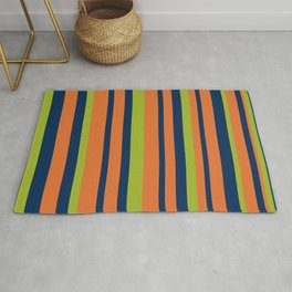 Vertical Stripes in Navy Blue, Orange, and Lime Green Pattern Rug