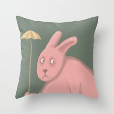 Sad Bunny  Throw Pillow
