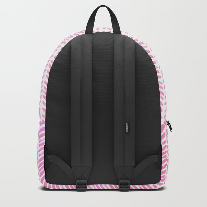 Handpainted Chevron pattern-small- pink watercolor on white Backpack
