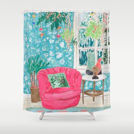 Pink Tub Chair Shower Curtain