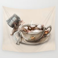 spice Wall Tapestries featuring Pumpkin Spice Latte by Nicole M Ales