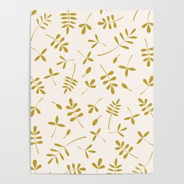 Gold Leaves Design on Cream Poster