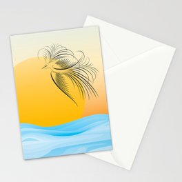 Flying bird - calligraphy Stationery Cards